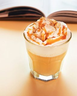 Caramel drizzle on coffee