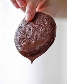 Chocolate dripping off a cookie
