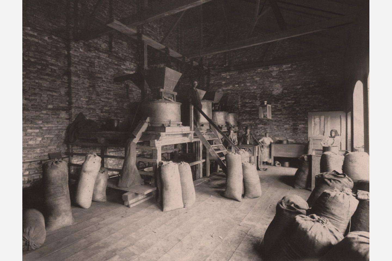 Fotografie alb-negru: Săculeți de boia de ardei dulce măcinată Kotányi din 1881