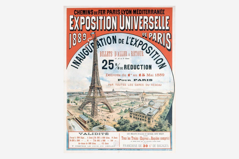 Poster cu Expoziția din Paris din 1889 cu o reprezentare a Turnului Eiffel.