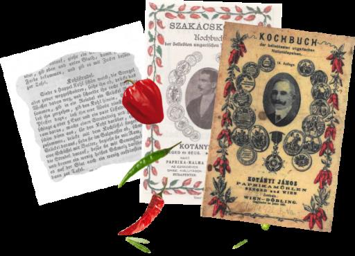 Două coperți ale cărților de bucate scrise de János Kotányi și un extras dintr-o rețetă din acestea.