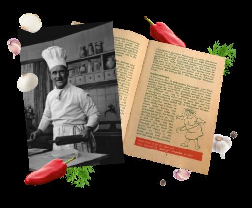 Bucătarul de televiziune Franz Ruhm și o imagine cu o copie a cărții sale de bucate Kotányi.