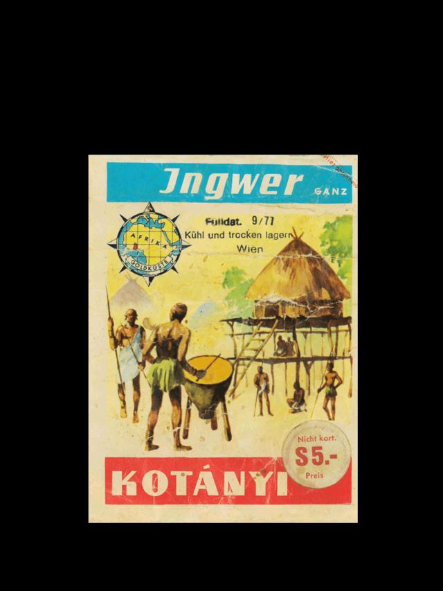 Un plic cu ghimbir Kotányi din ani anii '70.