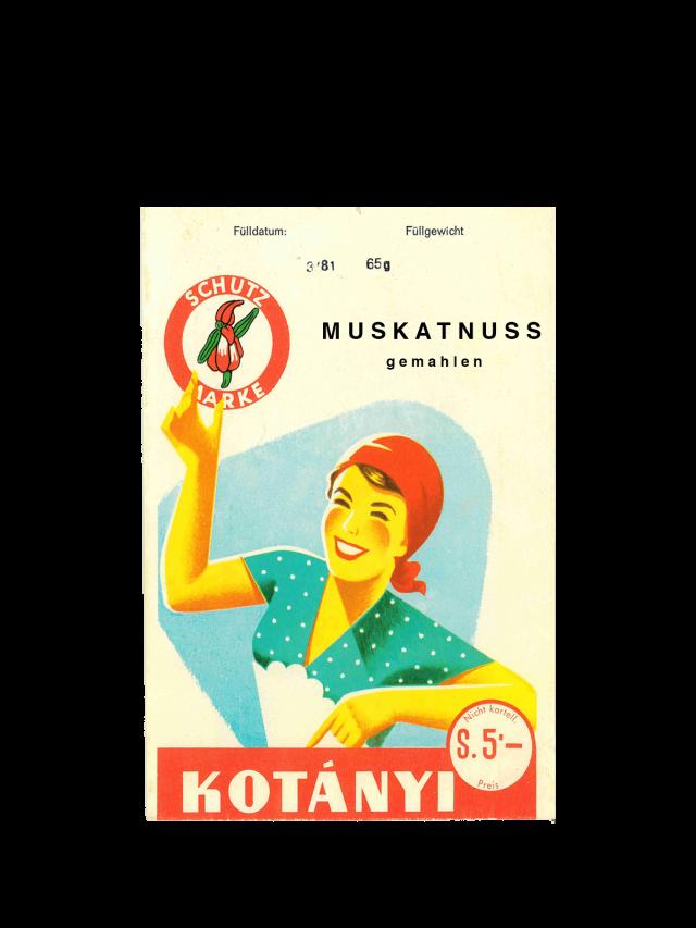 Un plic cu nucșoară Kotányi din anii '50.