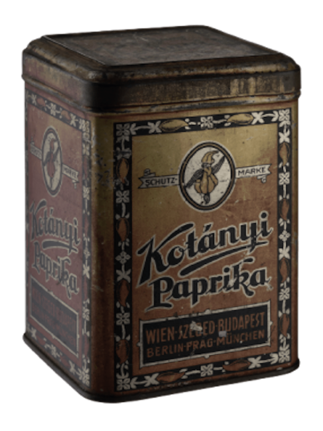 Ambalaj de condimente Kotányi din 1896.